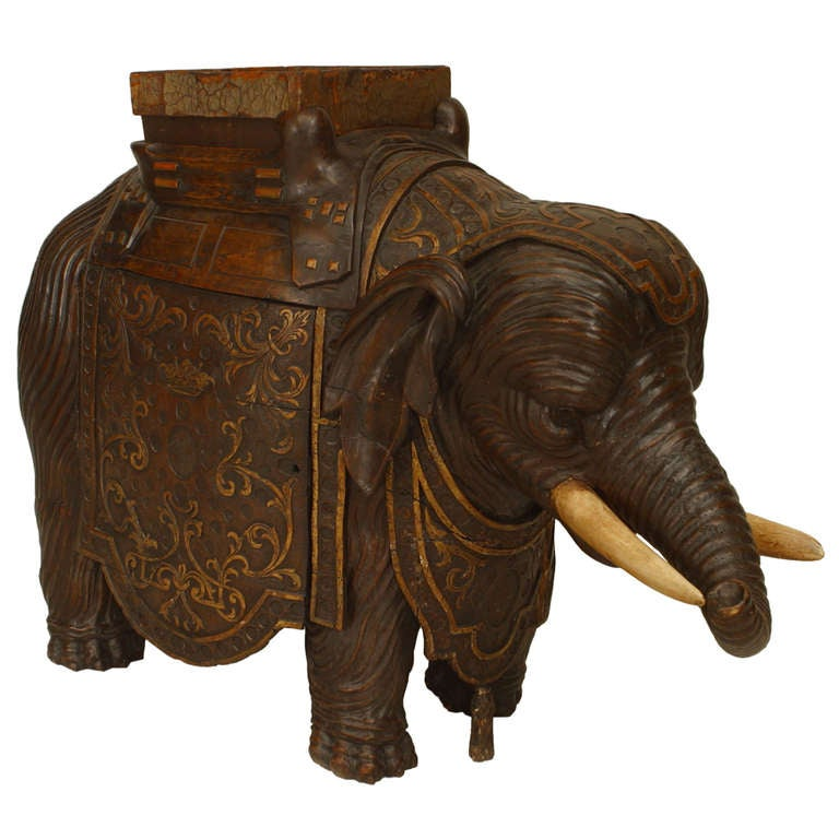 Early 19th c. Anglo-Indian Walnut Elephant Planter