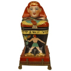 Late 19th c. French Porcelain Egyptian Revival Box