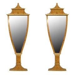 Pair of 1930's Neoclassic Style Italian Birch and Gilt Mirrors