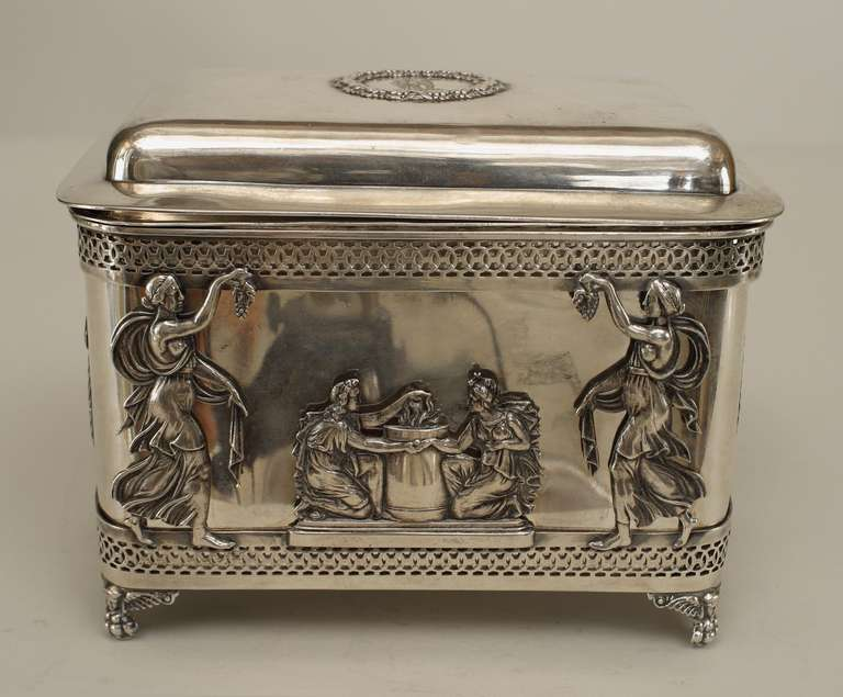 19th Century Turn of the Century German Sterling Box with Neoclassical Reliefs For Sale