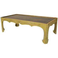 Gilt Trimmed Coffee Table with 18th Century Chinese Panel Top