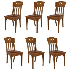Set of Six French Arts & Crafts Side Chairs Attributed to Jallot