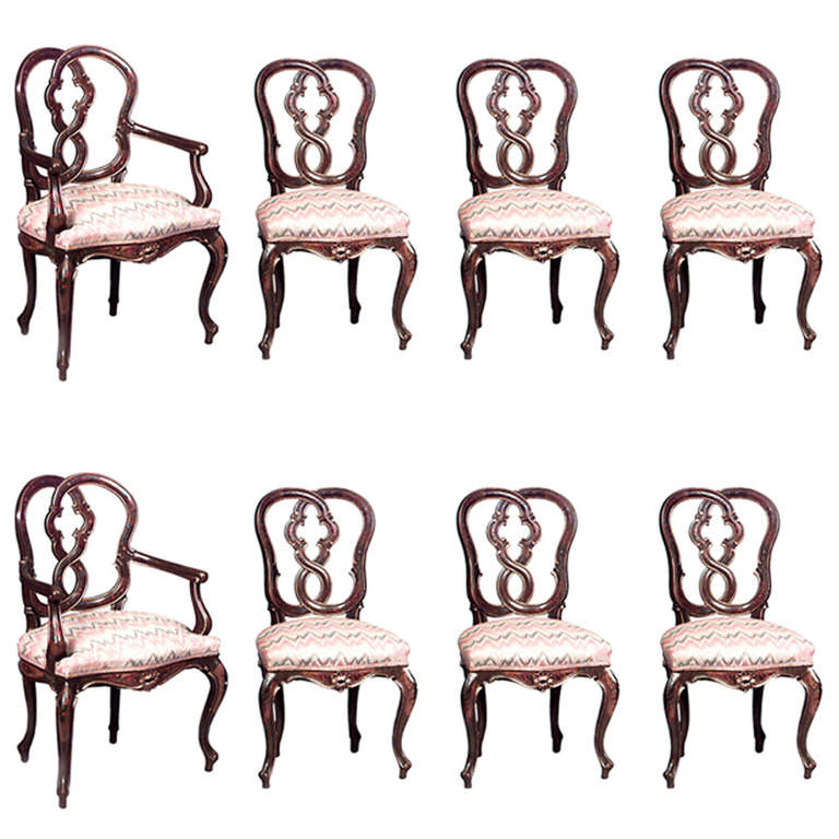 Set of Eight 19th Century Italian Chairs with Painted Accents