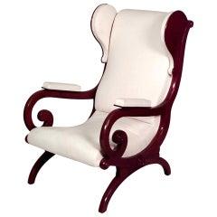 19th Century German Biedermeier Wingback Chair, Attributed to K.F. Schinkel