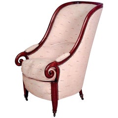 19th Century English Regency Style Upholstered Walnut Club Chair