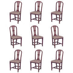 Set of Nine 18th Century English Country Walnut Side Chairs