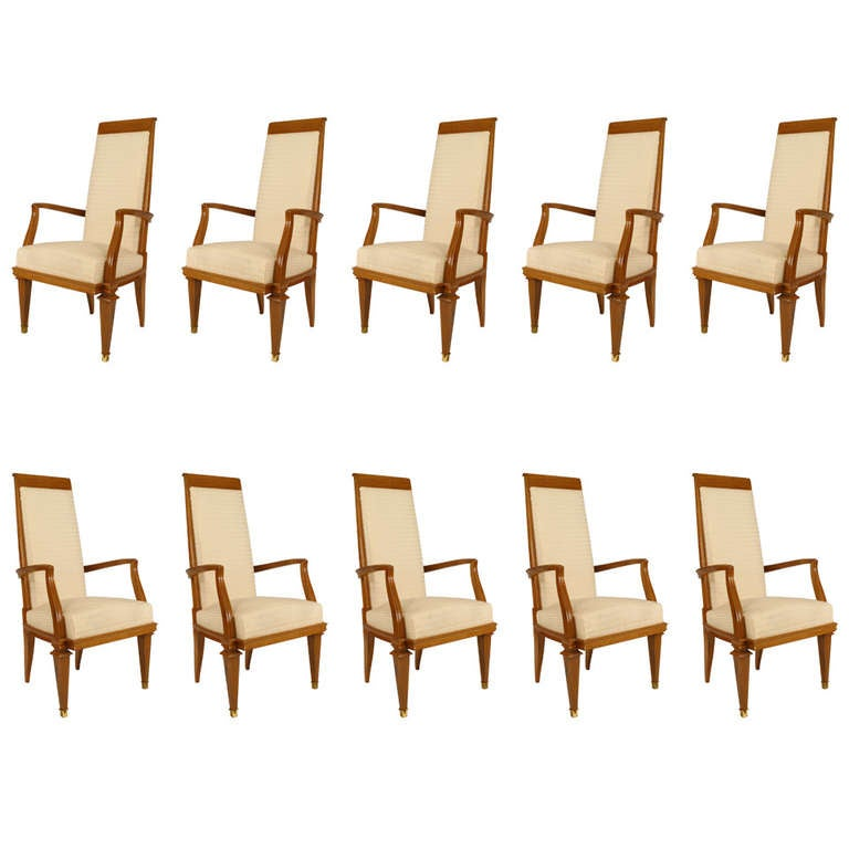 Set of Ten 1940's French Armchairs Attributed to Roger LeManach