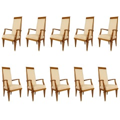 Set of 10 French White Muslin Arm Chairs