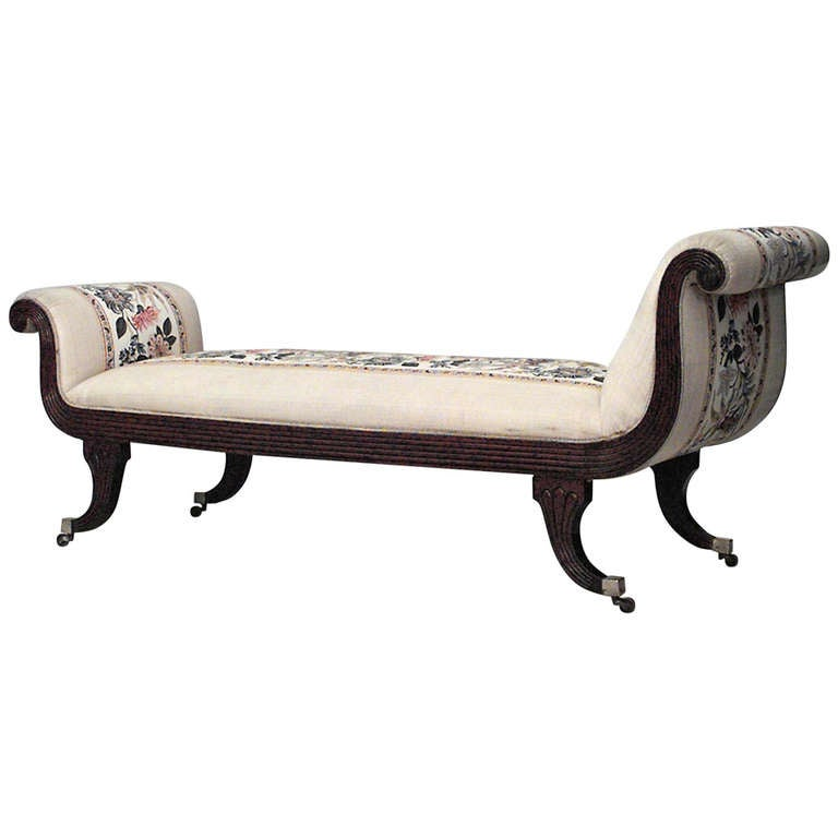 19th century english regency upholstered mahogany recamier for Chaise longue in english