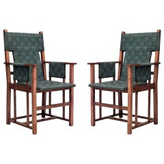 Pair of English Arts and Crafts Woven Seat Armchairs