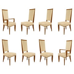Set of 8 Bronze-Mounted Dining Chairs Attributed to Maurice Jallot
