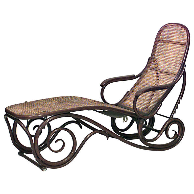 Turn Of The Century French Bentwood Chaise By A Gaiffe