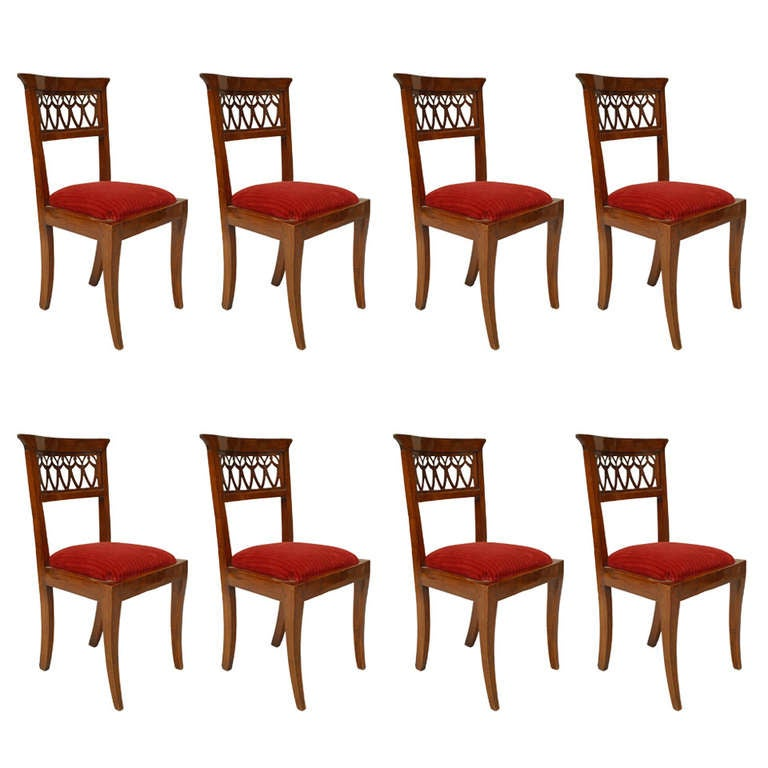 Set of Eight 19th Century Continental Filigreed Side Chairs