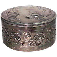 Small French Art Nouveau Embossed Silver Box