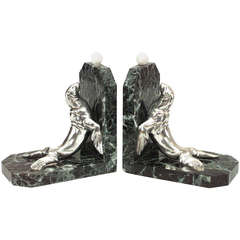 Pair of French Art Deco Seal Bookends Signed Frecourt