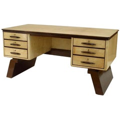1940s Italian Parchment Veneered Desk Attributed to Borsani