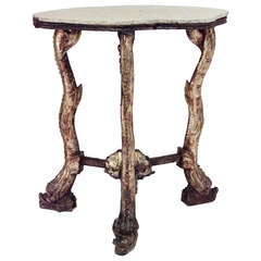 19th c. Venetian Grotto Silver Gilt End Table