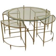Mid-Century American Brass Coffee Table with Four Nested Wedge Tables