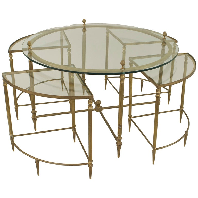 Mid-Century American Brass Coffee Table with Four Nested Wedge Tables For Sale