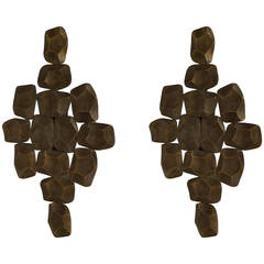Pair of 1970s Belgian Free-Form Bronze Sconces by Willy Daro