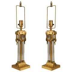 Pair of American Art Moderne Brass and Glass Column Table Lamps