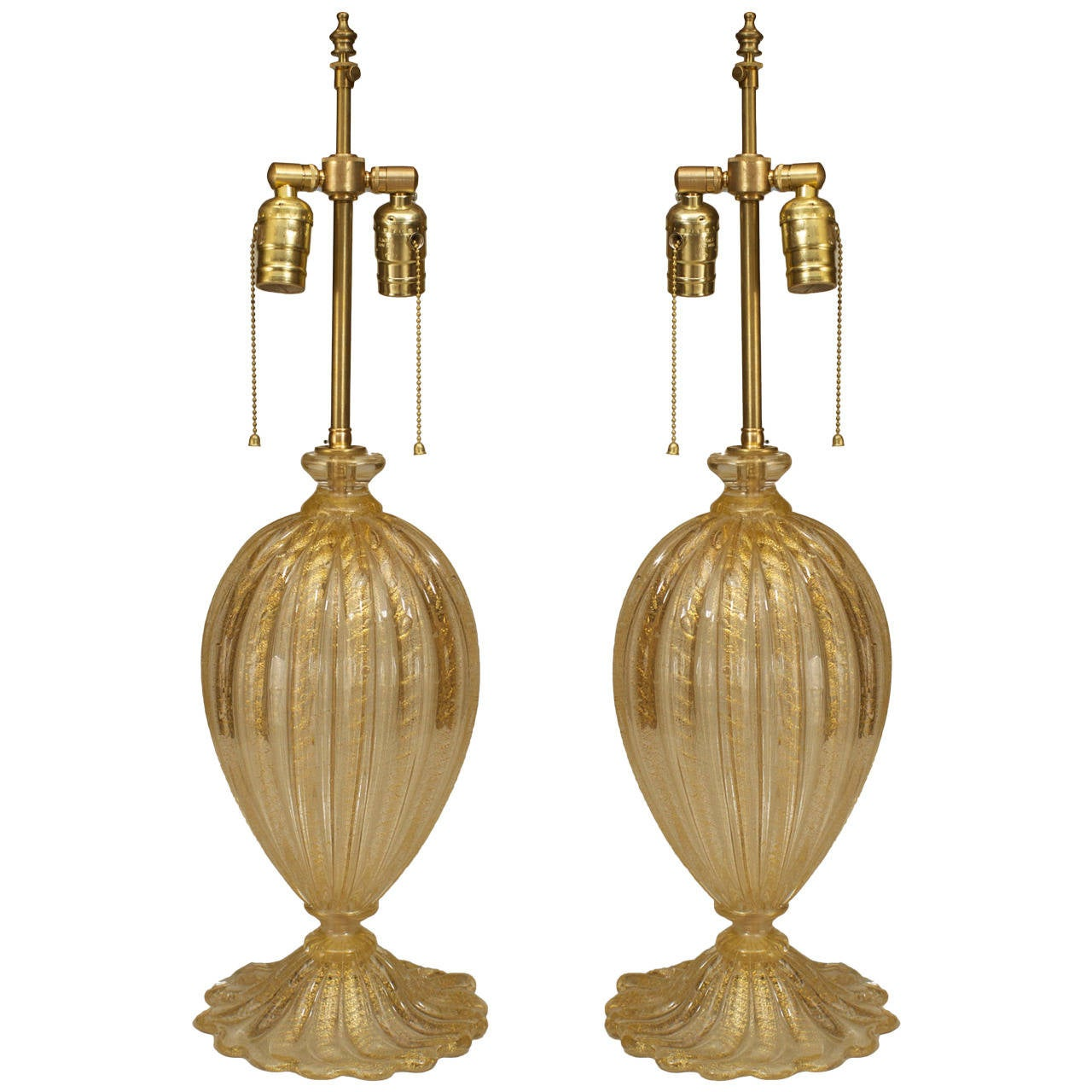 Pair of Modern Italian Gold Dusted Murano Glass Table Lamps