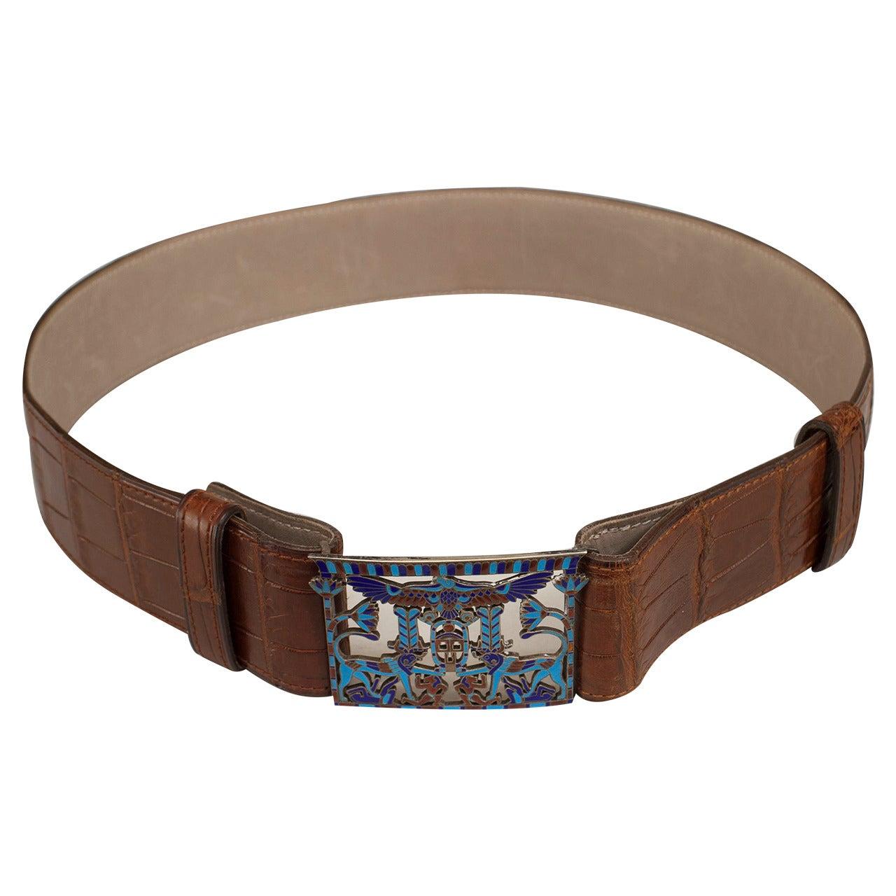 French Art Deco crocodile belt with an Egyptian themed cloisonné buckle.