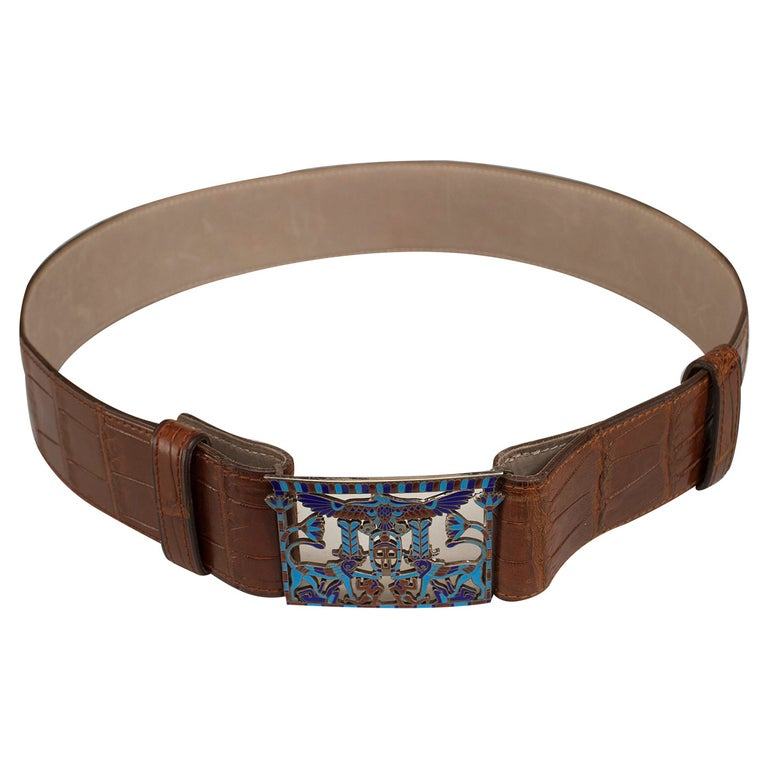 French Egyptian Revival Crocodile and Cloisonne Belt For Sale