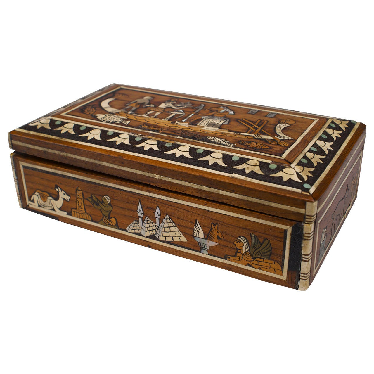 Middle Eastern Egyptian Revival Inlaid Box, Circa 1900 1