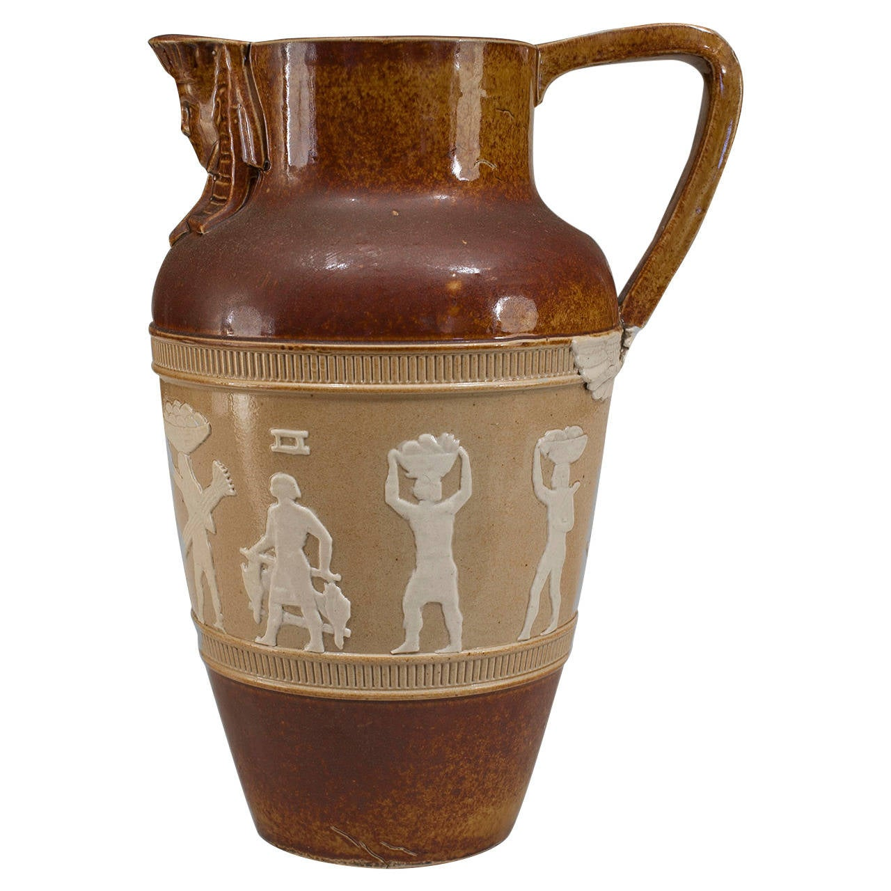 1920s English Egyptian Revival Pitcher by Doulton For Sale