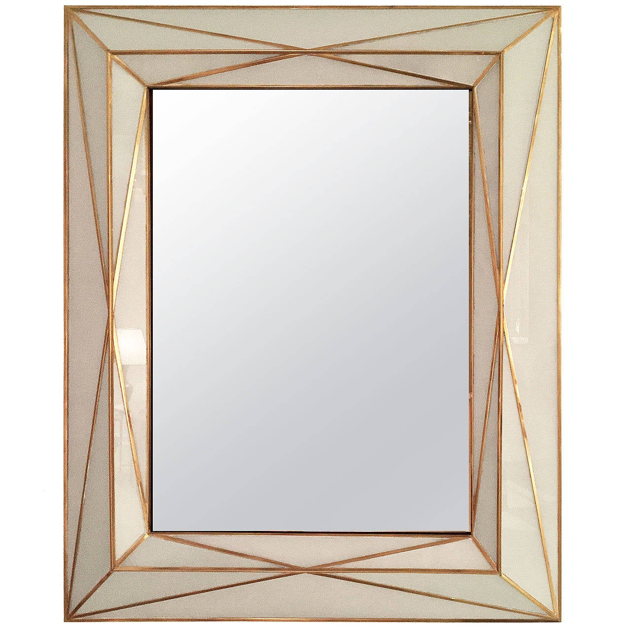 Contemporary brass inlaid and white glass mirror for sale for Modern wall mirror