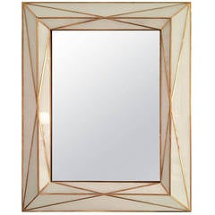 Contemporary Brass Inlaid and White Glass Mirror