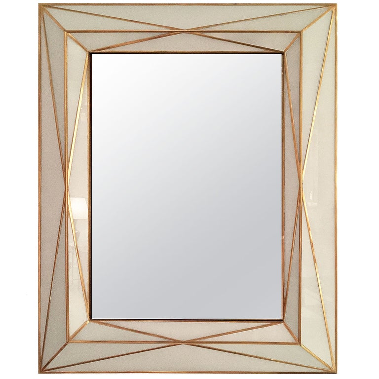 Contemporary Brass Inlaid and White Glass Mirror For Sale