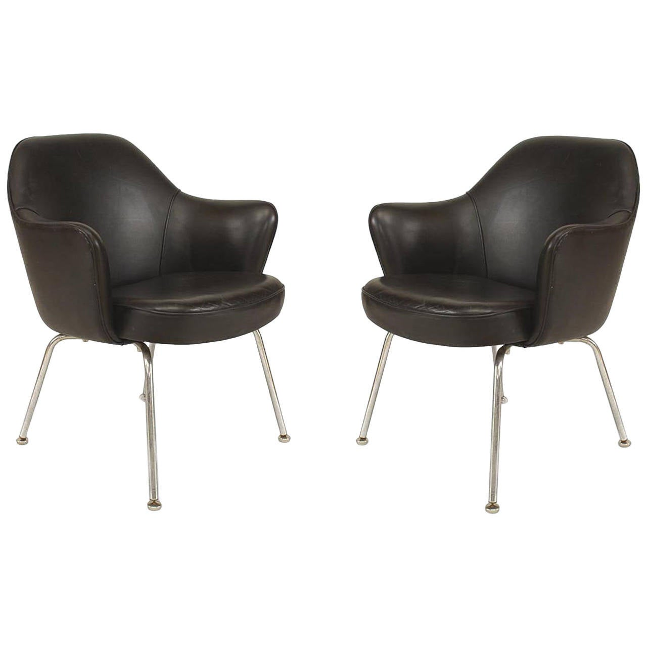 Mid Century Modern Leather Tub Chairs Attributed to Knoll