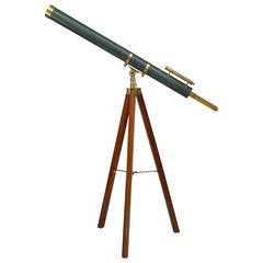 19th Century English Brass and Blue Enamel Telescope