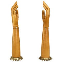 Pair of 19th Century English Carved Articulated Arm Sculptures