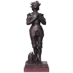 French Patinated Metal Joan of Arc Figure by Mercie