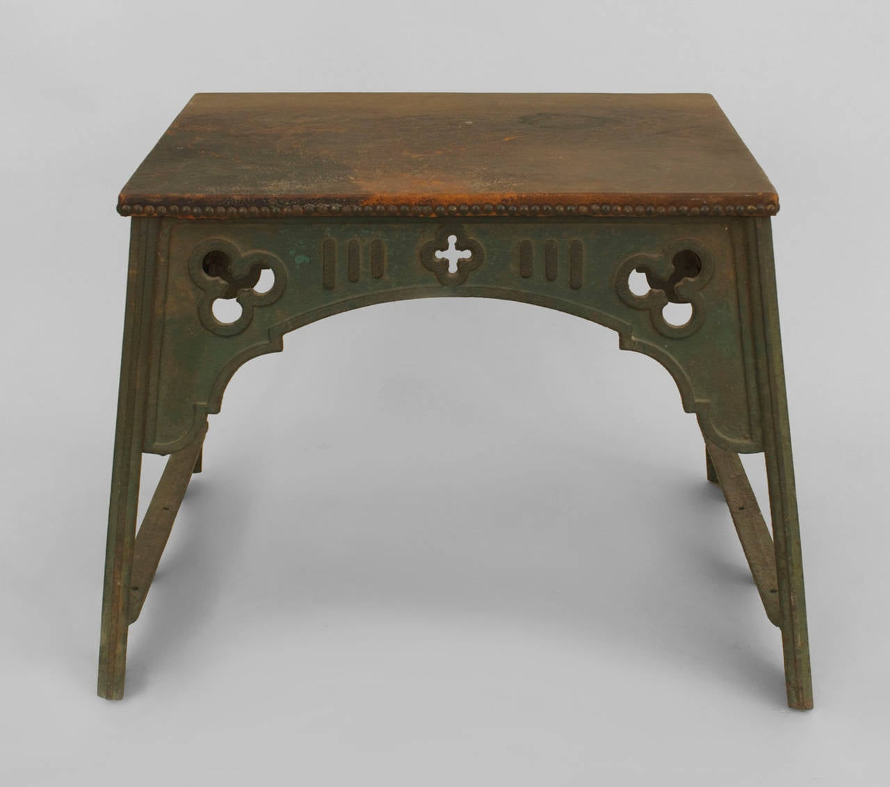 English Arts And Crafts Iron Coffee Table With Leather Top For Sale At 1stdibs