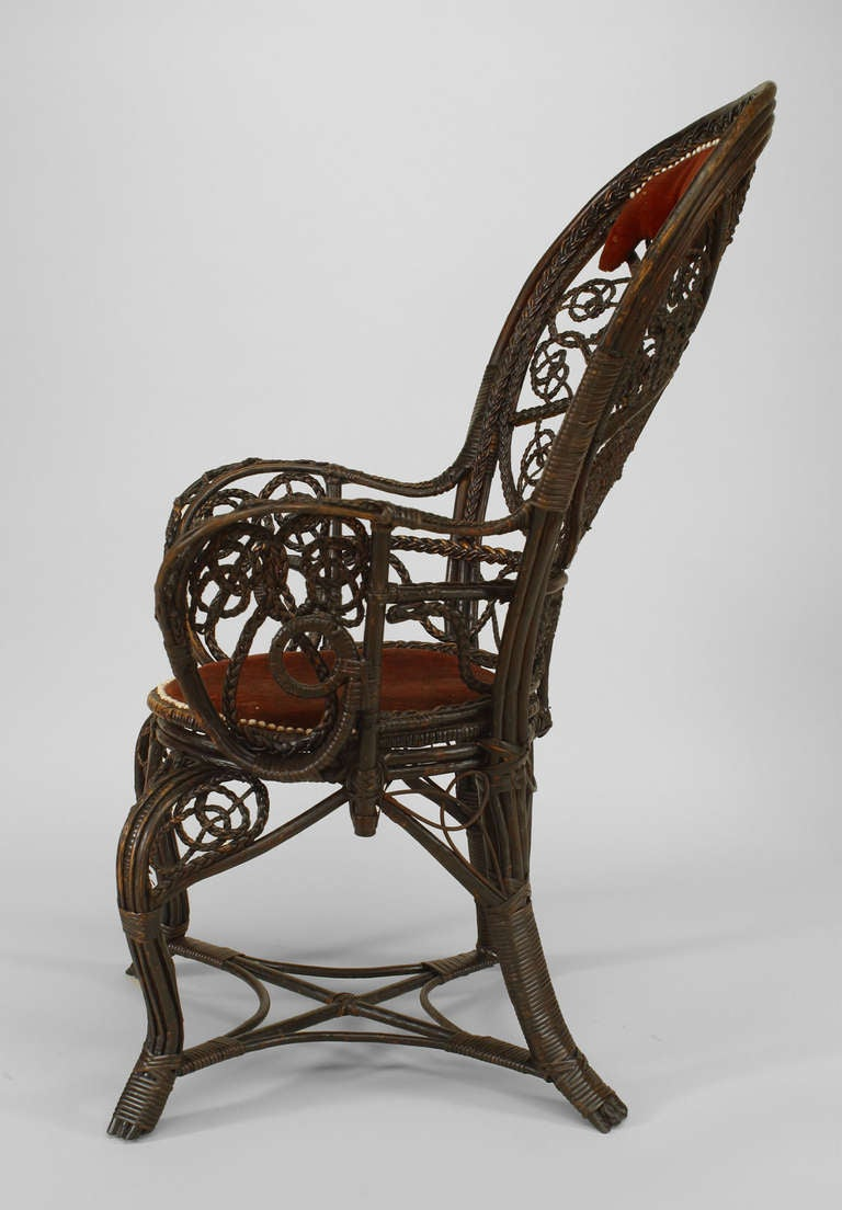 Pair Of 19th C Filigree Wicker And Red Velvet Fan Back Arm Chairs By Colt For Sale At