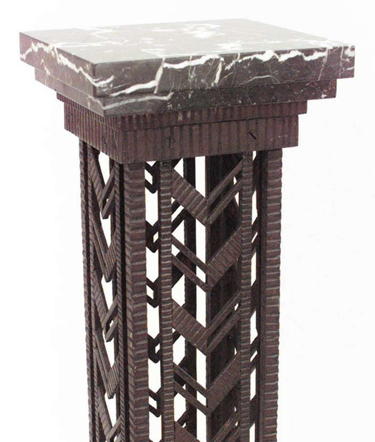 Pair of French Art Deco Wrought Iron And Marble Pedestals For Sale 1