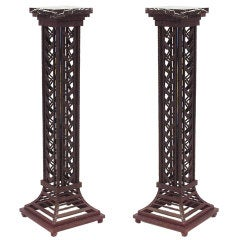 Pair of French Art Deco Wrought Iron And Marble Pedestals
