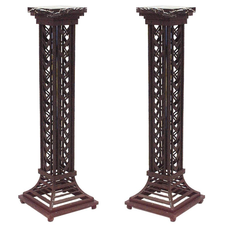 Pair of French Art Deco Wrought Iron And Marble Pedestals For Sale