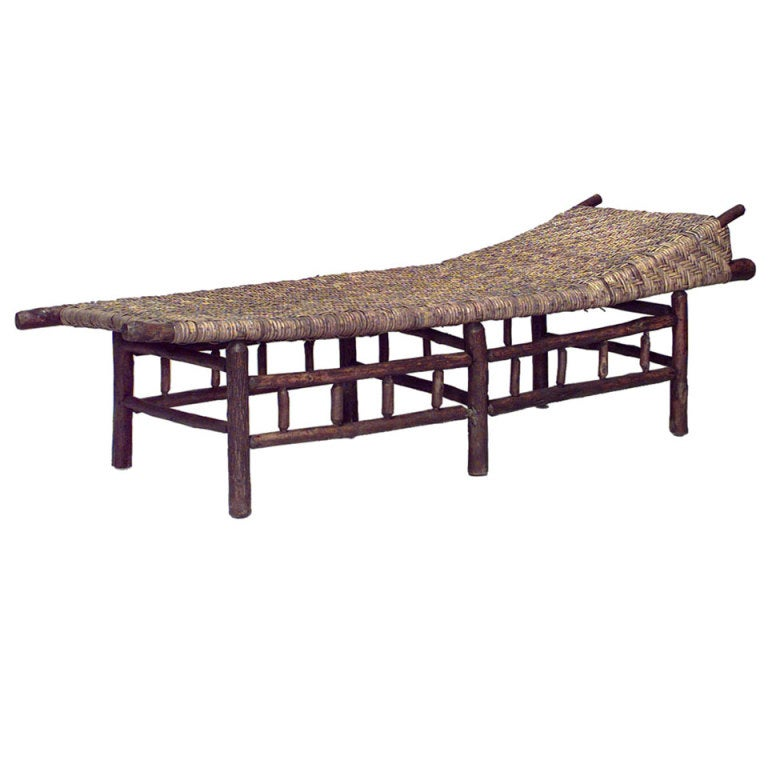 Rustic Old Hickory Woven Chaise Lounge