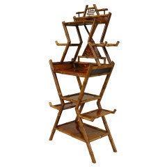 19th c. English Geometric Bamboo And Lacquer Etagere