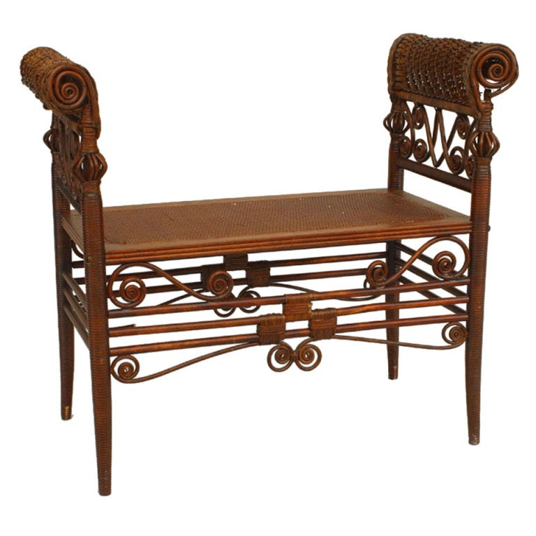 19th c. American Wicker Turkish Style Bench