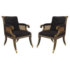 Pair Of 20th c. English Regency Style Velvet And Gilt Armchairs