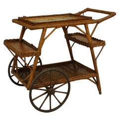 Early 20th c. American Wicker Tea Cart