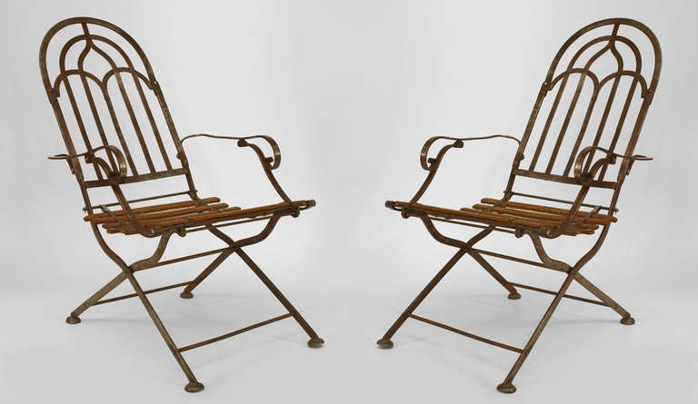 Pair of austrian art deco campaign arm chairs signed by for Stuhl wooden arms