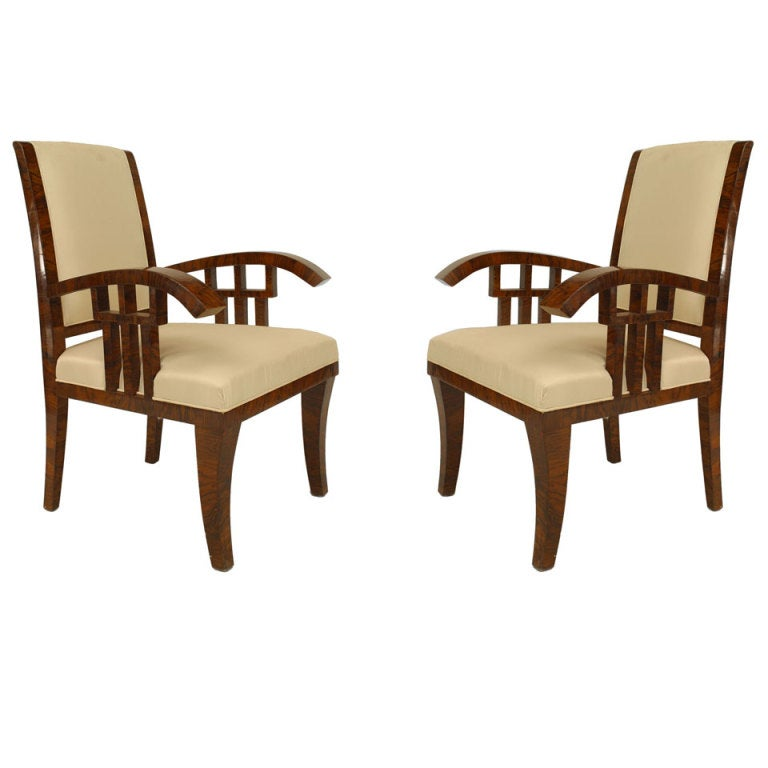 Pair of Hungarian Walnut Art Deco Armchairs