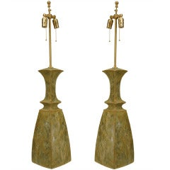 Pair of Celedon Glazed Ceramic Table Lamps by Gary DiPasquale
